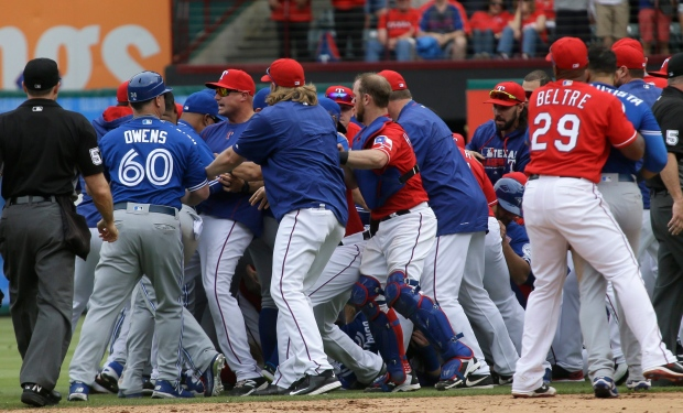 Unfinished business: Jays, Rangers brawl after Jose Bautista play | CTV News