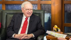 Berkshire Hathaway Chairman and CEO Warren Buffett talks while being interviewed with Microsoft co-founder and Berkshire board member Bill Gates, in Omaha, Neb., Monday, May 2, 2016, during an interview with Liz Claman on the Fox Business Network. (AP Photo/John Peterson)