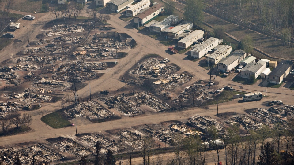 A devastated neighbourhood in Fort McMurray, Alta., is shown on Friday, May 13, 2016. THE CANADIAN PRESS/Jason Franson
