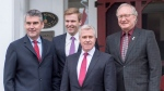 Nova Scotia Premier Stephen McNeil, New Brunswick Premier Brian Gallant, Newfoundland and Labrador Premier Dwight Ball and Prince Edward Island Premier Wade MacLauchlan, left to right, pose for a photo at the Hillsdale House Inn as they attend a meeting of the Council of Atlantic Premiers in Annapolis Royal, N.S. on Monday, May 16, 2016. (THE CANADIAN PRESS/Andrew Vaughan)