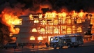More than 100 people are homeless are fire tore through a construction site and apartment complex in White Rock, B.C. (Peace Arch News/Teresa Frederick)