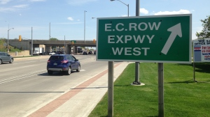 E.C.Row Expressway sign in Windsor, Ont., on Monday, May 16, 2016. (Rich Garton / CTV Windsor)