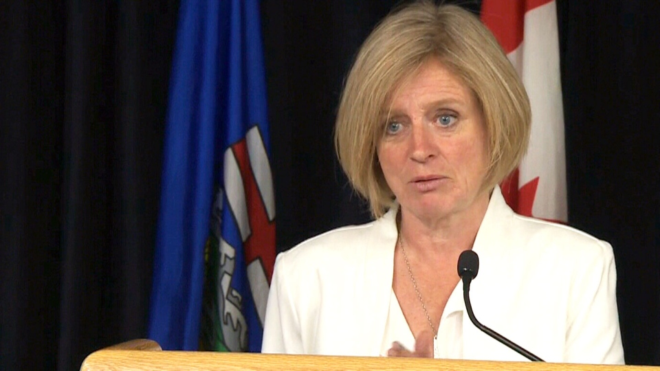 Alberta Premier Rachel Notley speaks to reporters on Monday, May 16, 2016.
