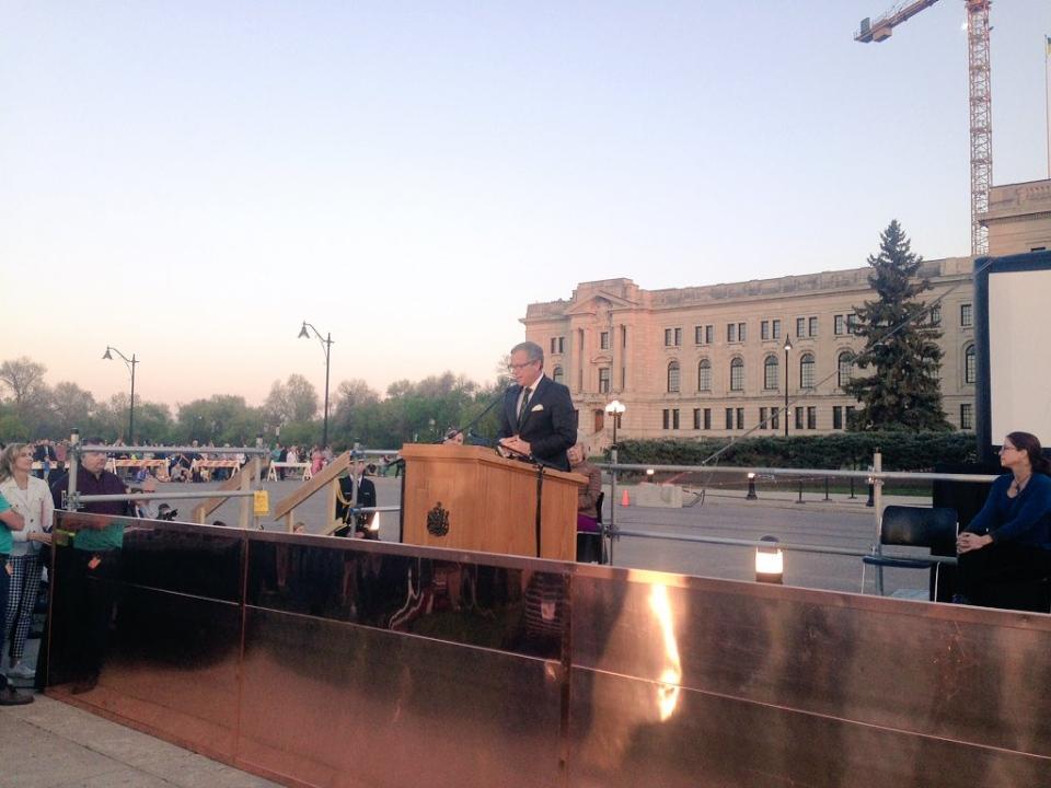 Saskatchewan Premier Brad Wall speaks at the unveiling of the new copper dome of the legislature Monday, May 16, 2016. (CTV REGINA / Jamie Fischer)