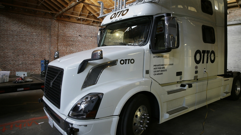 An Otto driverless truck is seen at a garage in San Francisco on Thursday, May 12, 2016. (Eric Risberg/AP)
