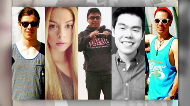 Joshua Hunter, Lawrence Hong, Zackariah Rathwell, Kaiti Perras and Jordan Segura were stabbed to deat at a house party in Calgary in 2014.