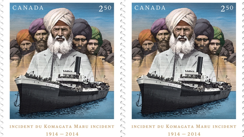 A Canada Post stamp picturing the Komagata Maru incident is shown in a handout image released on May 6, 2014. (Canada Post / THE CANADIAN PRESS)