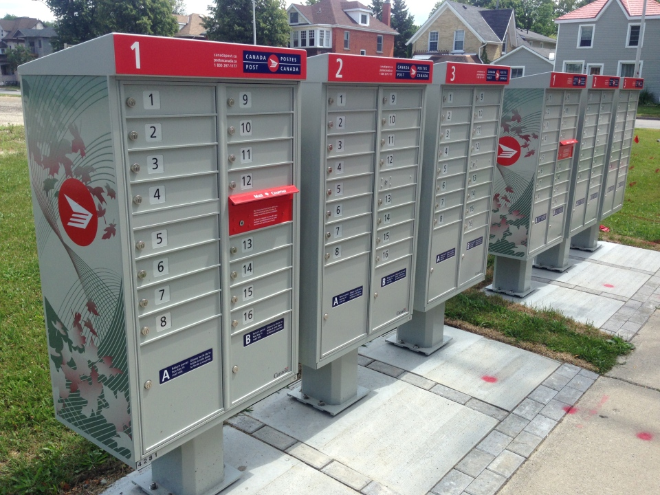 Canada Post community mailboxes are pictured in Stratford, Ont., on Thursday, Aug. 6, 2015. (Dan Lauckner / CTV Kitchener)