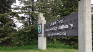 A sign is seen outside the Grand River Conservation Authority's administration centre on Friday, June 5, 2015. (Frank Lynn / CTV Kitchener)