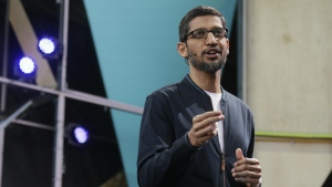 Google CEO Sundar Pichai delivers the keynote address of the Google I/O conference in Mountain View, Calif. on Wednesday, May 18, 2016. (AP / Eric Risberg)