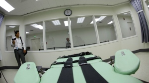 The view a condemned inmate would have from a table inside the death chamber is shown during a tour of the new lethal injection facility at San Quentin State Prison in San Quentin, Calif. on Sept. 21, 2010. (AP / Eric Risberg)