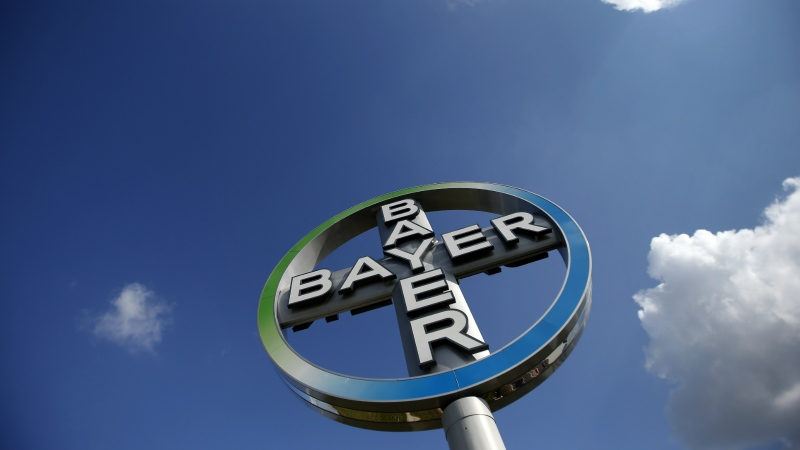 The logo of the chemical company Bayer is seen at the Airport Berlin Brandenburg 'Willy Brandt', IATA code BER, in Schoenefeld, Germany on Oct. 2, 2013. (AP / Michael Sohn)