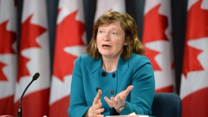 Suzanne Legault, information commissioner of Canada, holds a press conference in the National Press Theatre in Ottawa on Tuesday, March 31, 2015. (Sean Kilpatrick / THE CANADIAN PRESS)