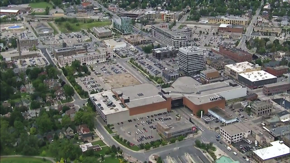 Downtown Kitchener is seen in aerial footage from the CTV News chopper from August 2014.