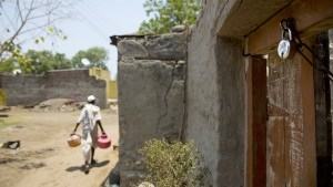 A locked house is seen as people have fled to cities for work due to drought in Masurdi village in Marathwada region, in the Indian state of Maharashtra on May 10, 2016. (AP / Manish Swarup)