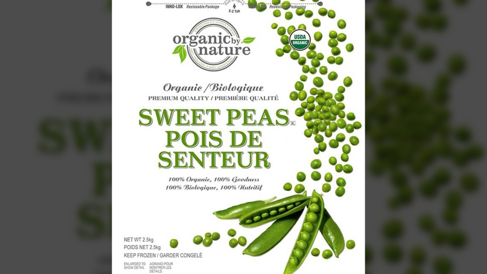 Organic by Nature frozen sweet peas is one of the products sold in Canada that's included in a massive food recall. (Canadian Food Inspection Agency)