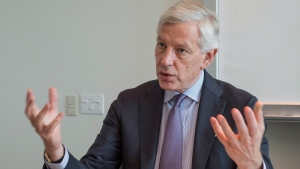 Dominic Barton, chairman of an advisory committee to federal Finance Minister Bill Morneau, responds to a question during an interview with The Canadian Press in Montreal, on Thursday, May 19, 2016. (Paul Chiasson / THE CANADIAN PRESS)