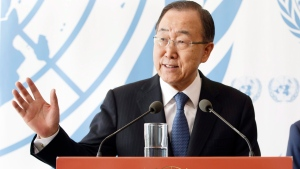 UN Secretary General Ban Ki-moon speaks at a media briefing during the Olympic flame stop at the European headquarters of the United Nations in Geneva, Switzerland, Friday, April 29, 2016. (Salvatore Di Nolfi / Keystone via AP)