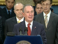 Michael Bloomberg, mayor of New York City, speaks during a press conference from city hall, Friday, Jan. 16, 2009.