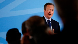 Britain's Prime Minister David Cameron addresses members of a World Economic Forum event focusing on Britain's EU referendum in London, Tuesday, May 17, 2016. (AP / Frank Augstein)