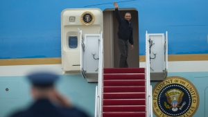 President Barack Obama waves as he boards Air Force One, Saturday, May 21, 2016, at Andrews Air Force Base, Md. on his way to Vietnam. (AP / Evan Vucci)