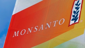 This Aug. 31, 2015 file photo shows the Monsanto logo seen at the Farm Progress Show in Decatur, Ill. (AP Photo/Seth Perlman)