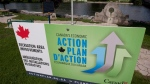 An Economic Action plan sign is pictured in Mississippi Mills, Ont., on August 23, 2010. (THE CANADIAN PRESS/Adrian Wyld)
