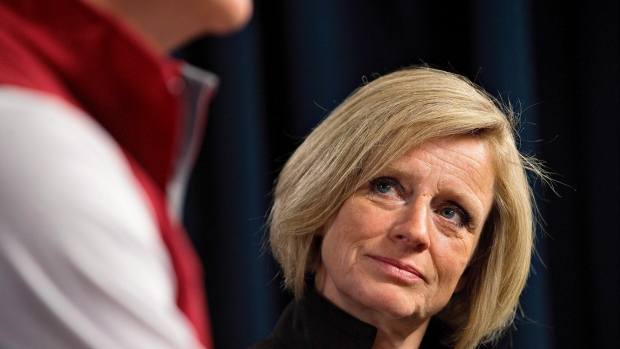 Conrad Sauve, President and CEO, Canadian Red Cross and Alberta Premier Rachel Notley announce details of emergency funds for Fort McMurray wildfire evacuees in Edmonton, Alta., on Wednesday, May 11, 2016. (THE CANADIAN PRESS/Jason Franson)