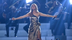 "Celine Dion performs ""The Show Must Go On"" at the Billboard Music Awards at the T-Mobile Arena on Sunday, May 22, 2016, in Las Vegas. (Photo by Chris Pizzello/Invision/AP)"