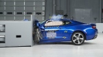 A 2016 Chevrolet Camaro is seen during a crash test at the IIHS Vehicle Research Center in Ruckersville, Va. on March 24, 2016. (Insurance Institute for Highway Safety)