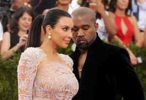 Kim Kardashian, left, and Kanye West arrive at The Metropolitan Museum of Art's Costume Institute benefit gala in New York on May 4, 2015. (Charles Sykes / Invision)
