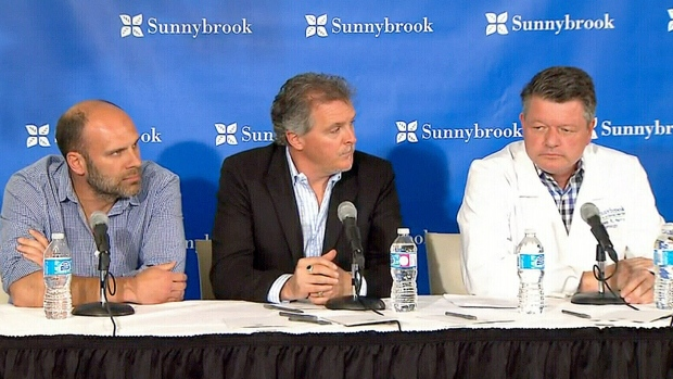 Dr. James Perry, head of neurology at Sunnybrook Health Sciences Centre, and The Tragically Hip managers Bernie Breen and Patrick Sambrook provide an update on Gord Downie's cancer diagnosis May 24, 2016.