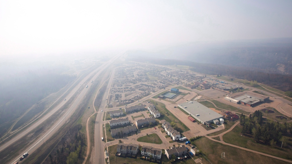 Smoke fills the sky from fires near Fort McMurray