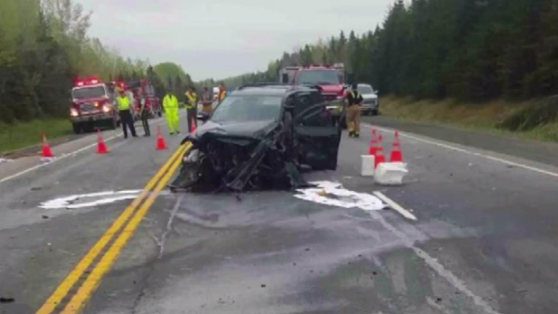 A 35-year-old woman died after a crash in Pictou County on Monday.
