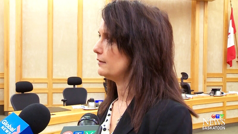 Tiffany Paulsen speaks to reporters in this file photo.