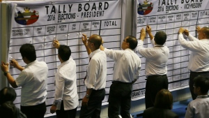 Philippine House and Senate election tribunal staff prepare the tally board prior to the start of the official count of votes cast in the May 9 presidential election in the Lower House in suburban Quezon city, northeast of Manila, Philippines on Wednesday, May 25, 2016. (AP / Bullit Marquez)