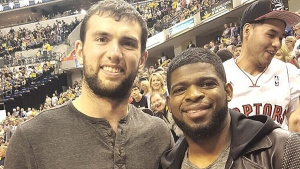 Montreal Canadiens defenceman P.K. Subban, right, and Indianapolis Colts quarterback Andrew Luck are shown at a Toronto Raptors game on Apr. 23, 2016. (Twitter / P.K. Subban)