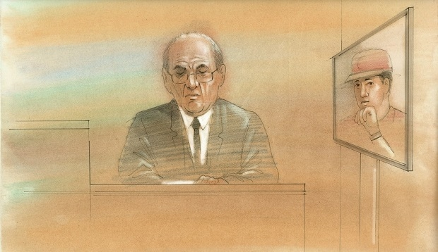 A court sketch shows Sammy Yatim's father delivering a victim impact statement at the sentencing hearing for Const. James Forcillo. (John Mantha)