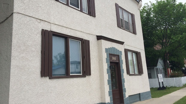 The landlord of this building at 101 Hespeler Avenue in Winnipeg said a pregnant woman could not apply to rent an apartment because the building's walls are too thin.