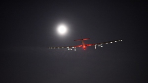 """In this photo provided by Solar Impulse, """"Solar Impulse 2,"""" the solar airplane of Swiss pioneers Bertrand Piccard and Andre Borschberg, moves through the sky shortly after the take off from Dayton International Airport, in Dayton, Ohio to Lehigh Valley International Airport in Allentown, Pa., on Wednesday, May 25, 2016. (Jean Revillard/Solar Impulse via AP)"""
