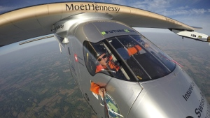 Bertrand Piccard takes a selfie on board the 'Solar Impulse 2' during his flight from Dayton, Ohio to Lehigh Valley International Airport in Allentown, Pa., on May 25 2016. (Bertrand Piccard/Solar Impulse via AP)