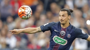 Zlatan Ibrahimovic eyes the ball at the Stade de France Stadium on May 21, 2016. (Francois Mori / AP)