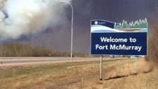 Welcome to Fort McMurray sign - wildfire