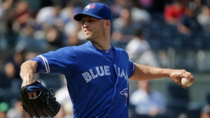 Toronto Blue Jays pitcher J.A. Happ delivers against the New York Yankees, in New York, on Thursday, May 26, 2016. (AP Photo/Julie Jacobson)