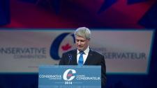Former prime minister Stephen Harper speaking