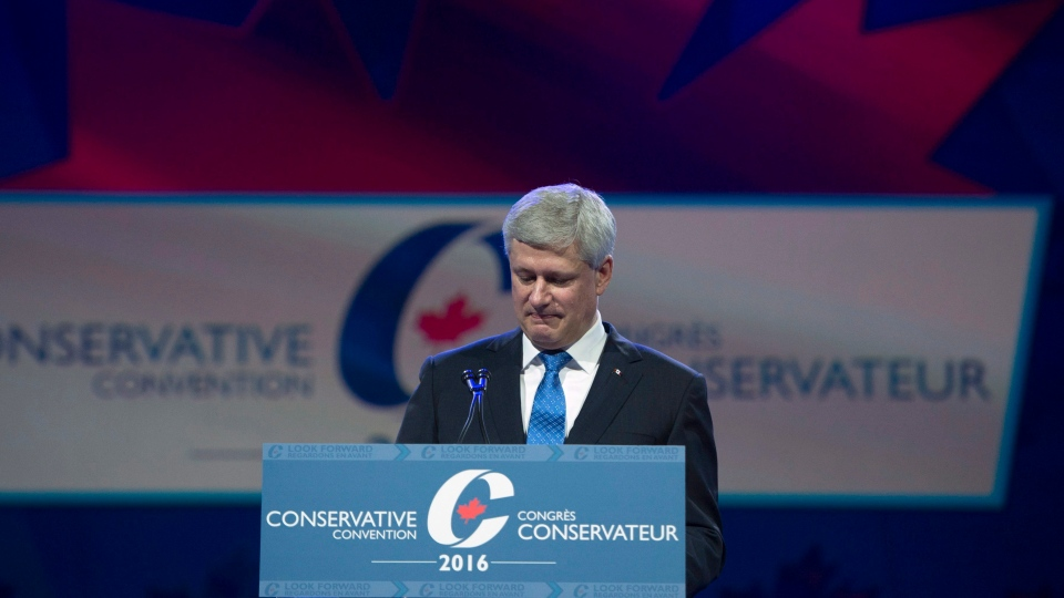 Former prime minister Stephen Harper addresses the Conservative Party of Canada convention in Vancouver, Thursday, May 26, 2016. (Jonathan Hayward / THE CANADIAN PRESS)