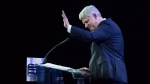 Former prime minister Stephen Harper waves as he steps away from the podium after addressing delegates during the 2016 Conservative Party Convention in Vancouver, B.C. on Thursday May 26, 2016. THE CANADIAN PRESS/Darryl Dyck