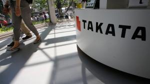 Takata Corp. desk at an automaker's showroom in Tokyo, on May 4, 2016. (Shizuo Kambayashi / AP)