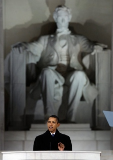"President-elect Barack Obama speaks during ""We Are One: Opening Inaugural Celebration at the Lincoln Memorial"" in Washington, Sunday, Jan. 18, 2009. (AP Photo / Alex Brandon)"
