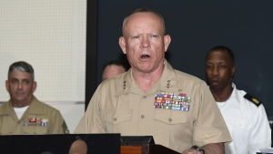 Lt. Gen. Lawrence D. Nicholson, U.S. Marine Corps Commanding General of III Marine Expeditionary Force, speaks during a press conference at the USMC Camp Foster in Okinawa, Japan after a former Marine was arrested on suspicion of killing a woman on the southern Japanese island. (Sadayuki Goto / Kyodo News via AP)